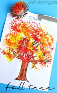 dish-brush-fall-tree-craft-for-kids