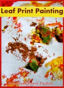leaf print painting